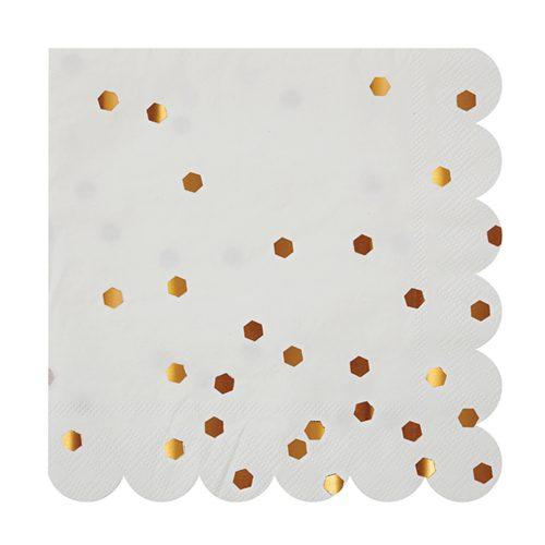 Gold confetti scalloped napkin