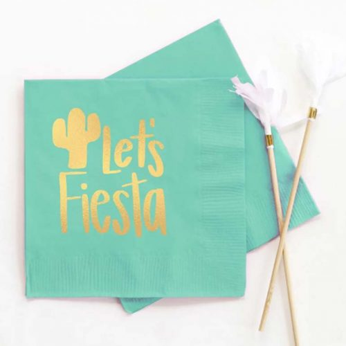 aqua Lets Fiesta cocktail napkin with gold foil