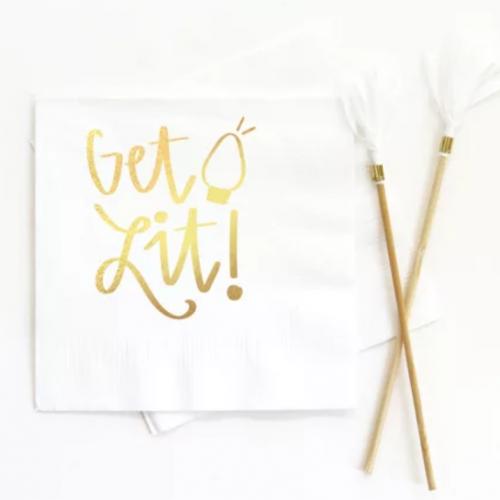 get lit gold foil beverage napkin