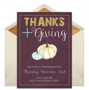 thanksgining white pumpkin invitation