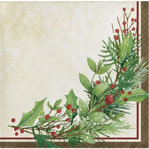 holiday leaves and berries napkin