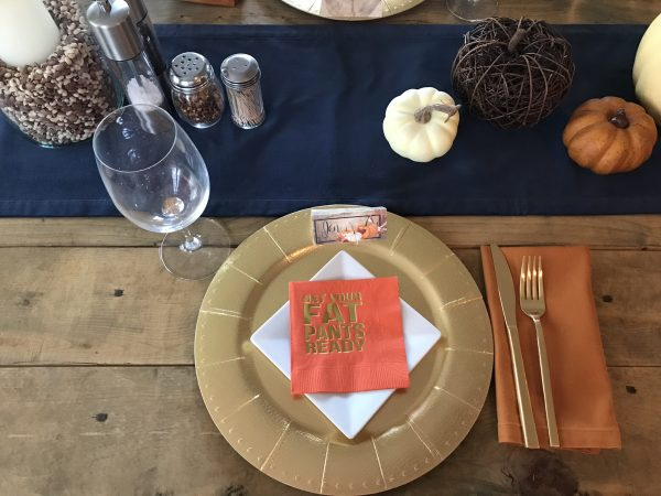 thanksgiving navy table setting