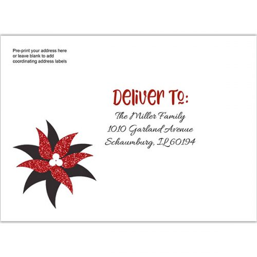 black and glitter poinsettia printed envelope