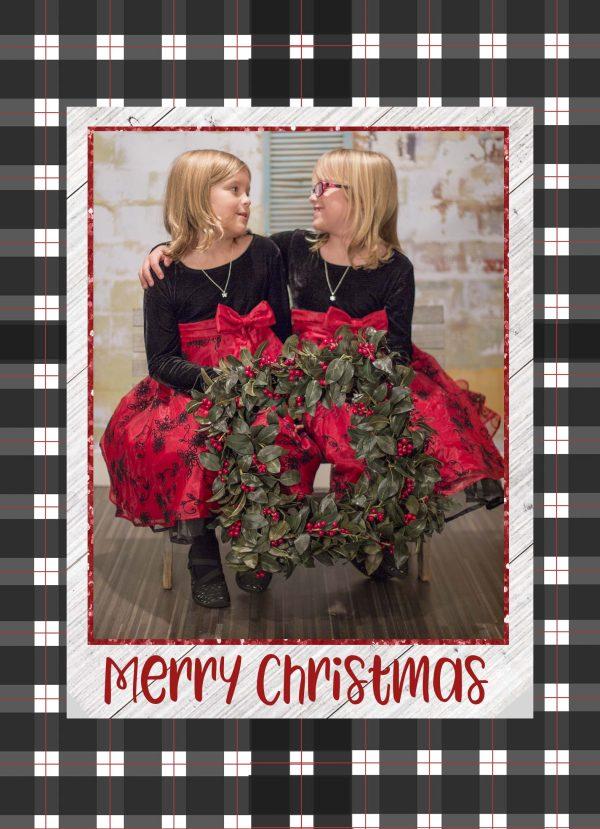black plaid holiday greeting card