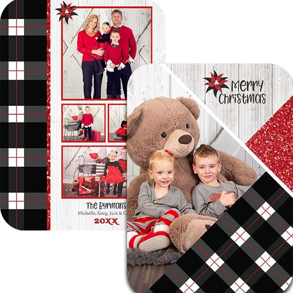 black plaid and rustic wood holiday greeting card