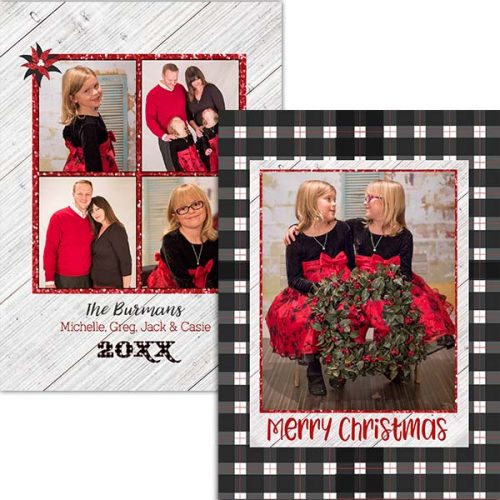 black plaid holiday greeting card