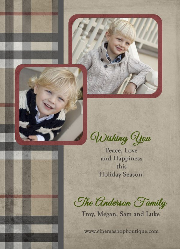 traditional plaid holiday photo greeting card