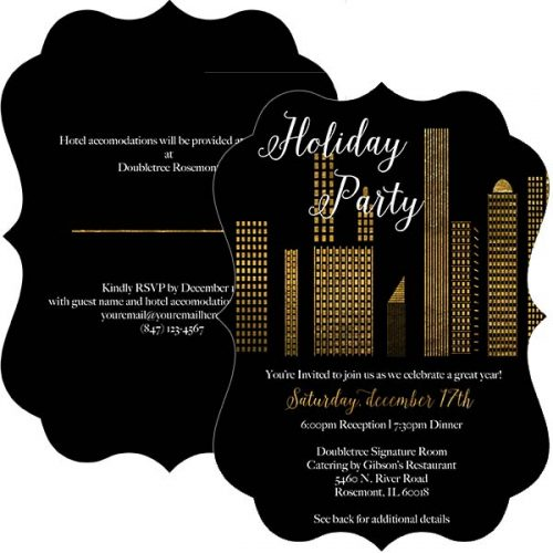 City gold silhouette holiday party invitation