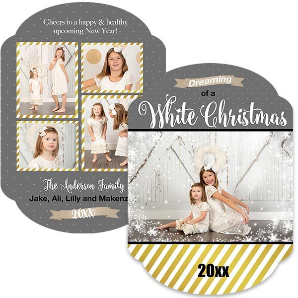 Gray with gold stripe holiday greeting card