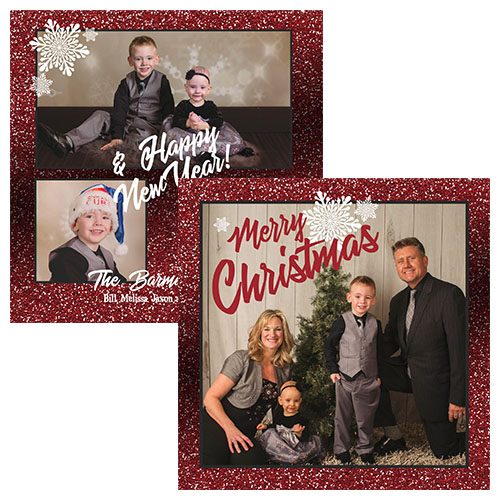 red glitter and snowflake holiday greeting card
