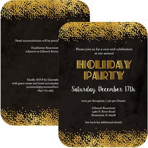 art deco gold confetti holiday invitation