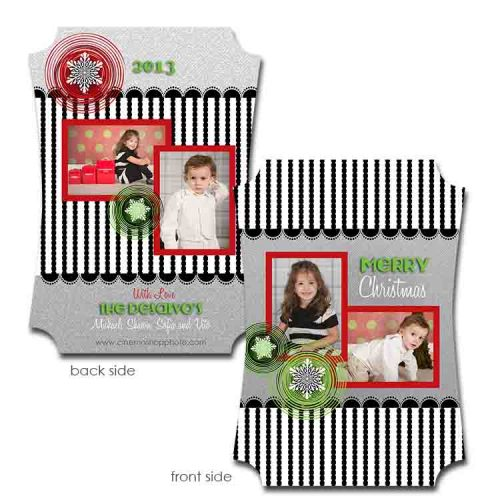 black white and gray holiday photo greeting card