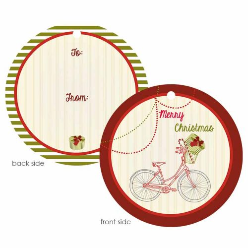Vintage holiday bike 3x3 round tag with hole