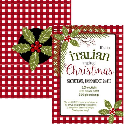 red check italian christmas invitation