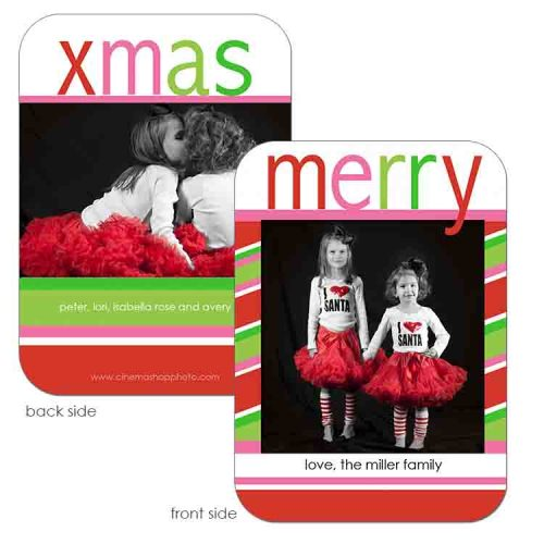 Bright simple stripe create this keepsake holiday greeting card