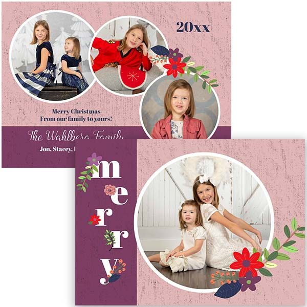 merry floral pink holiday greeting card