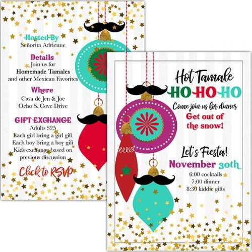 mustache ornament invitation
