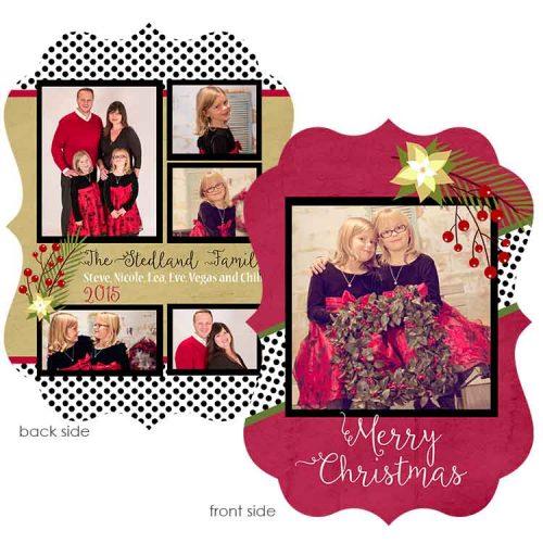 polka dot poinsetta holiday greeting card