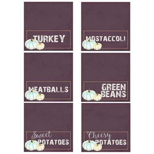 thanksgiving food place cards
