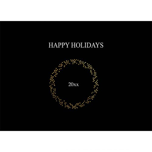 Gold wreath holiday card
