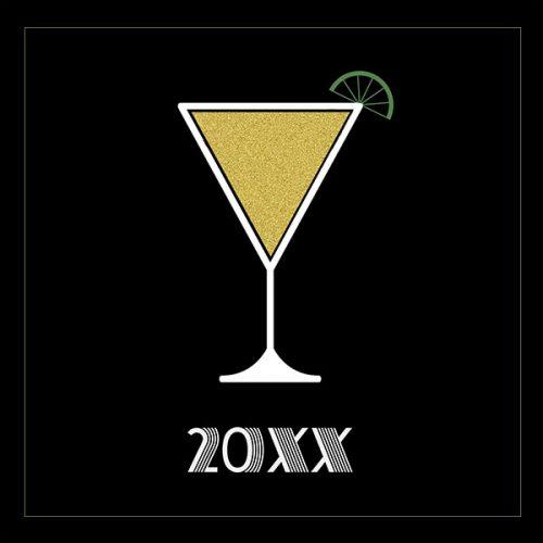 gold martini greeting card