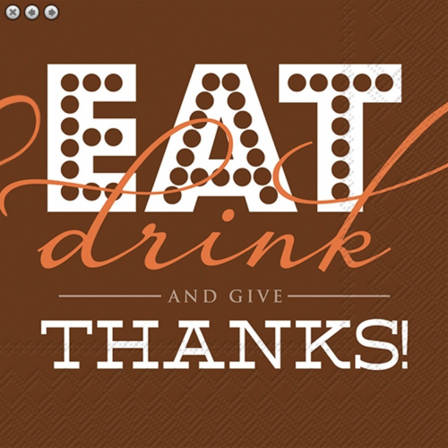 eat drink and be thankful beverage napkin
