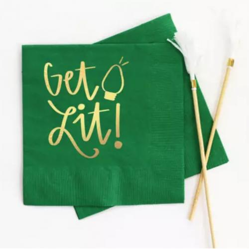 green get lit gold foil beverage napkin