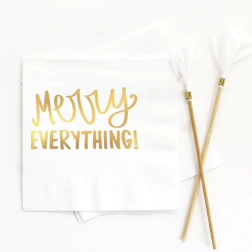 white merry everything gold foil beverage napkin