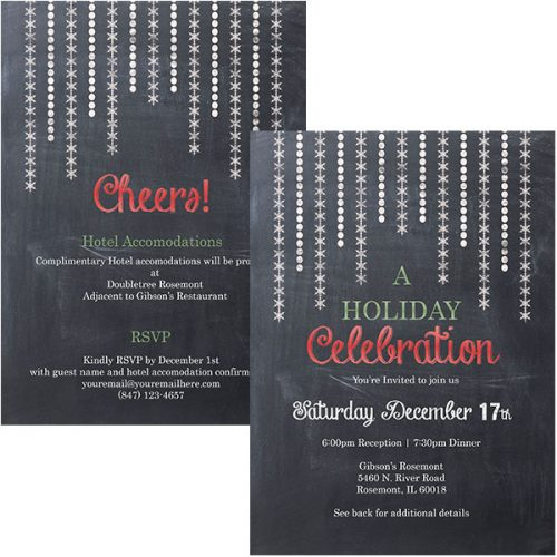 snowflake strings holiday invitation