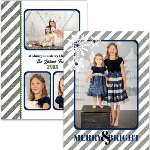 silver stripe snowflake holiday greeting card