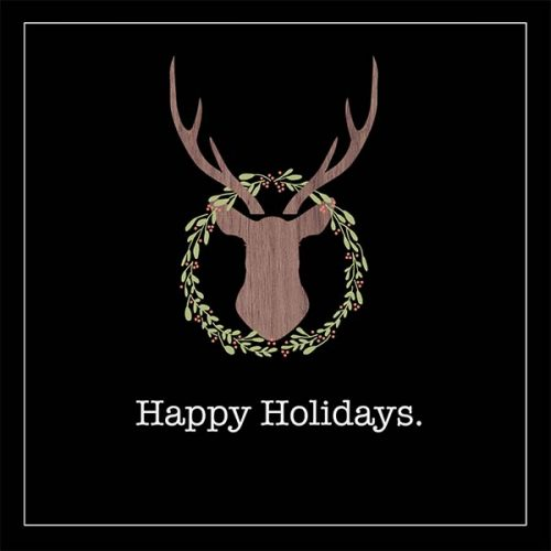 Wood Deer With Wreath holiday card