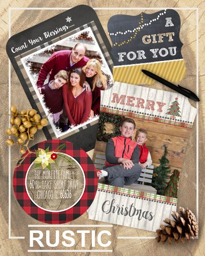 Rustic holiday greeting cards
