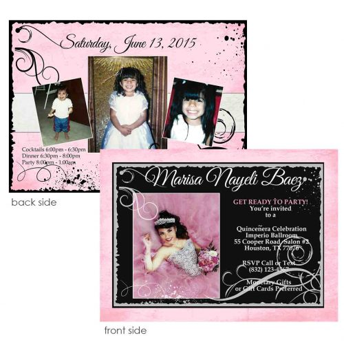 pink and black quincenera invitation