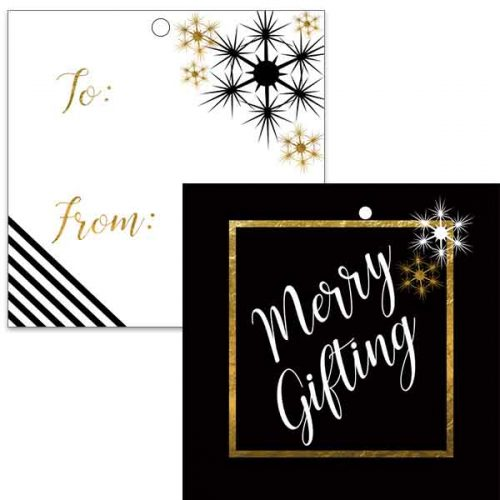 black and gold gift tag