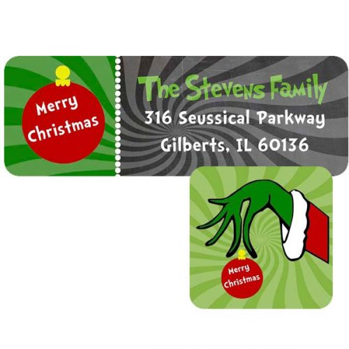 grinch holiday address label