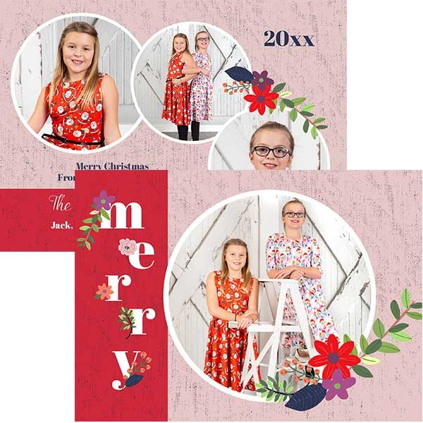 merry floral photo greeting card