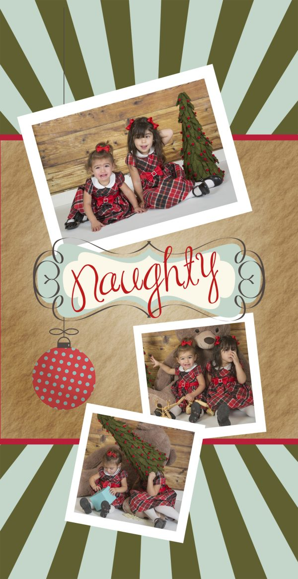 naughty and nice photo greeting card