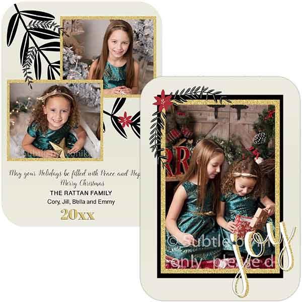 poinsettia gold glitter holiday card