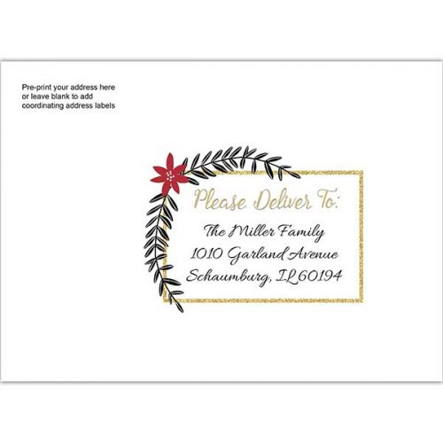 poinsettia leaf gold glitter printed envelope
