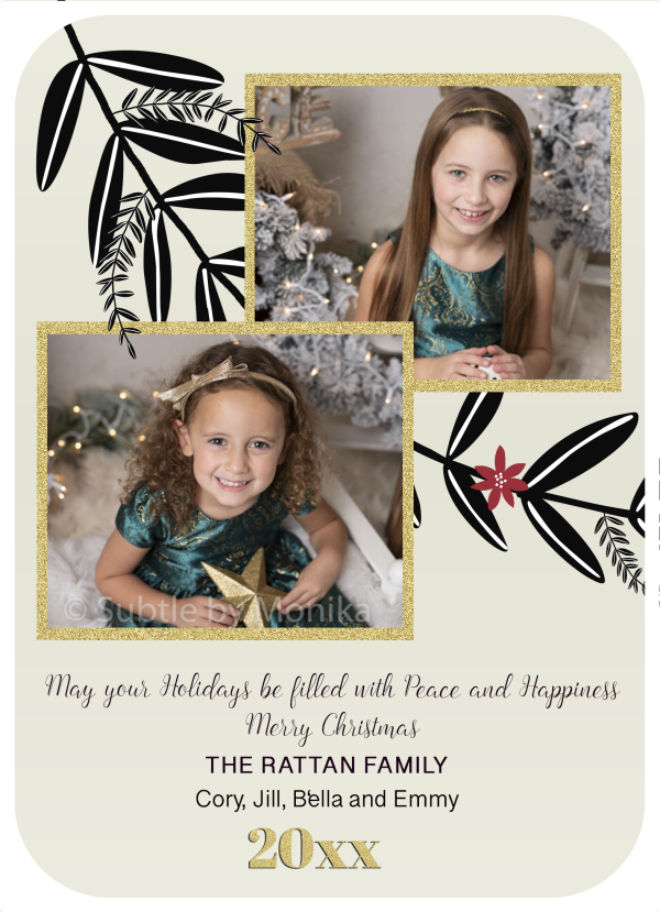 Gold glitter poinsettia holiday card