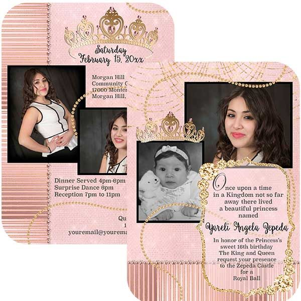 blush and gold crown sweet 16 invitation