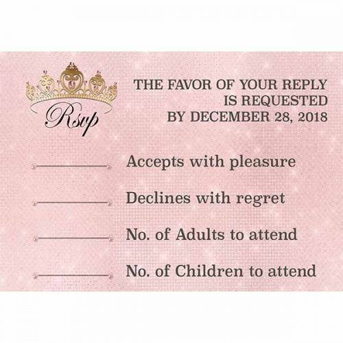 royal ball gold crown and blush rsvp card