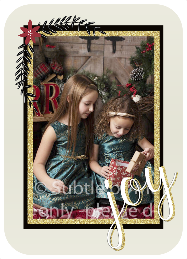 Gold glitter poinsettia photo holiday card