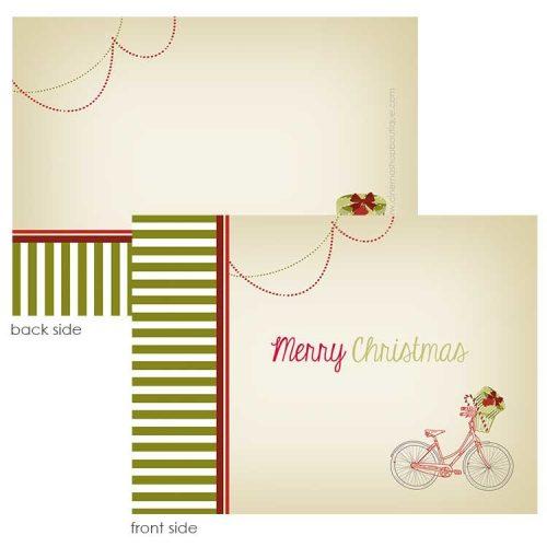 vintage holiday bike notecard