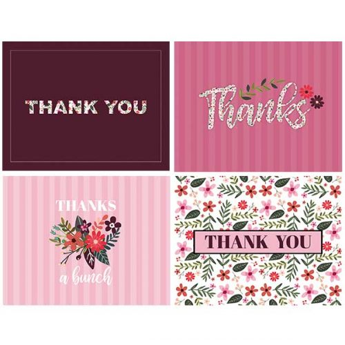 feminine floral thank you notecard