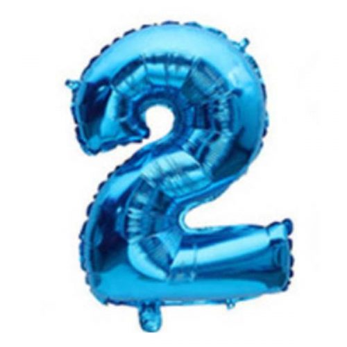 blue mylar number balloon