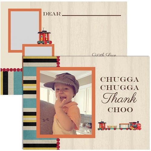 vintage train thank you card