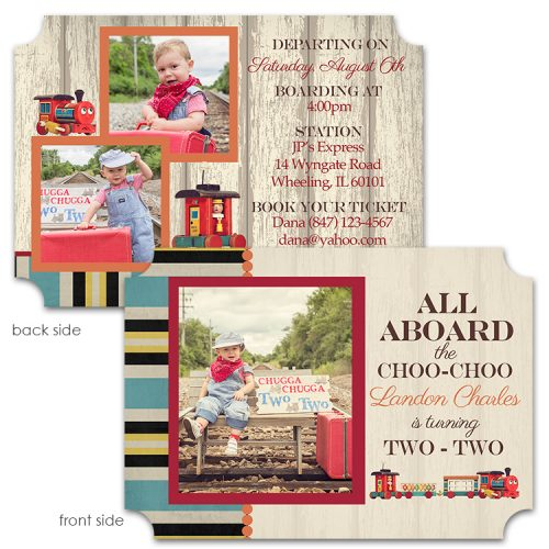 vintage wooden train birthday invitation