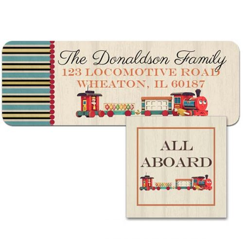 vintage train address label