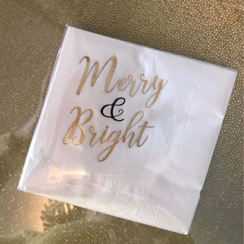 merry and bright gold foil beverage napkin